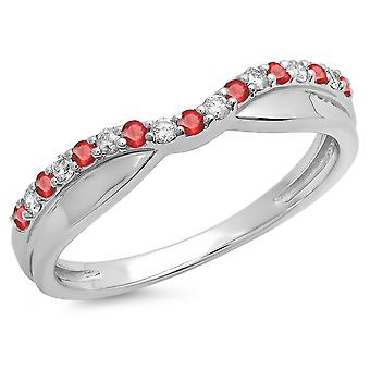 Dazzlingrock Collection 18K rund Ruby & hvit diamant Ladies bryllup stables Contour Guard band, hvitt gull