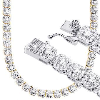 Iced Out Bling Zirkonia Tennis Kette - CLUSTER 5mm 55cm