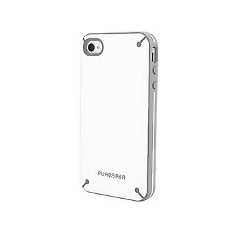 Funda Slim Shell Snap-on PureGear para Apple iPhone 4/4S - Blanco y Gris