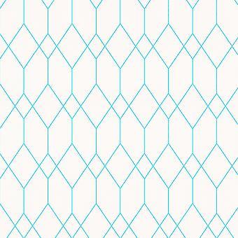 Geometriska diamant tapet vit/Teal Esprit 32792-4