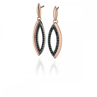 Fiorelli Silver Rose Gold Marquise Pave Drop Earrings E5188B
