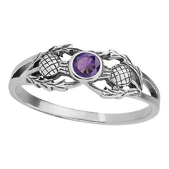Scottish Flower Of Scotland Thistle Ring - Amethyst Colour Stone
