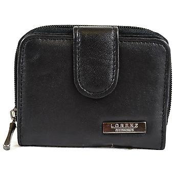 女性スーパー ソフト ナッパ革二つ折り財布ファスナー付きラウンド ポケット