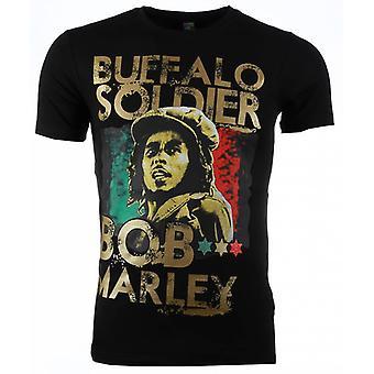 T-shirt-Bob Marley Buffalo Soldier Print-Black