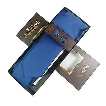 Tie, Cufflink & Hankerchief Set Exlusive Milan Collection 100% Hand Made Plain Blue