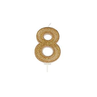 Culpitt Gold Sparkle Numeral Candle - Number 8 - 70mm - Boxed 6