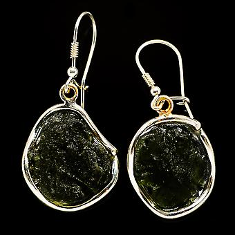 Czech Moldavite 925 Sterling Silver Earrings 1 3/4