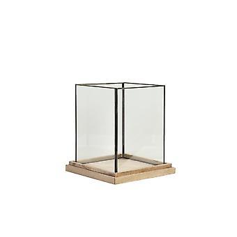 Light & Living Hurricane Billund Windproof Candle Holder - Glass On Wood 20x20x26cm