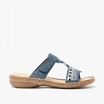 Rieker 628m6-14 Ladies Backless Slip On Sandals Blue