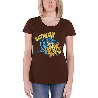 Official Womens Batman T Shirt WHAM retro Logo New DC Comics Skinny Fit Brown