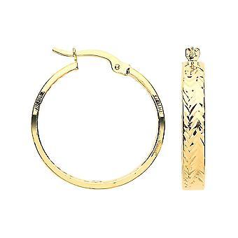 Eternity 9ct 2 Colour Diamond Cut Hoop Creole Hoop Earrings