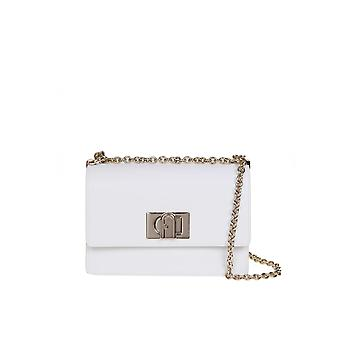 Furla 1064437 Women's White Leather Shoulder Bag