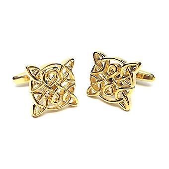 Celtic Design Gold Plated Cufflinks - Gift Boxed - Ladies Unisex Cuff Links