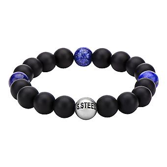Men's stainless steel bracelet with onyx beads and lapis balls