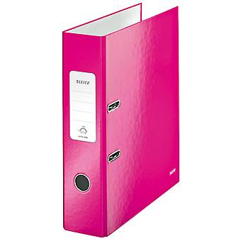 Leitz Pink Lever Arch File Laminated WOW 180° A4 80mm