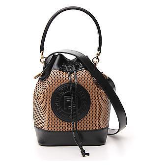 Fendi 8bt309a94of18mr Women's Bege/preto Leather Shoulder Bag