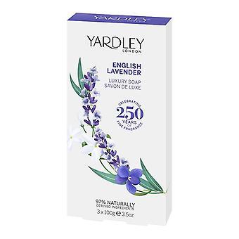 Yardley London English Luxury Soap - English Lavender - Fresh Elegant Fragrance with Lavender Scent 3x100 g