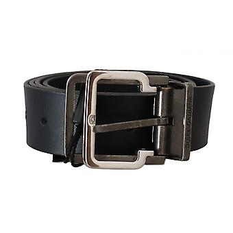 Dolce & Gabbana Blue Leather Silver Metal Buckle Belt -- BEL5048624