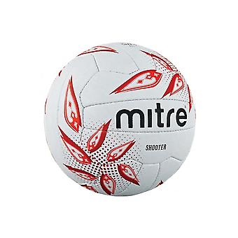 Mitre Shooter Netball Ball White/Ruby/Red
