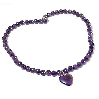 TOC Treated Amethyst Heart Charm Bead Necklace 18