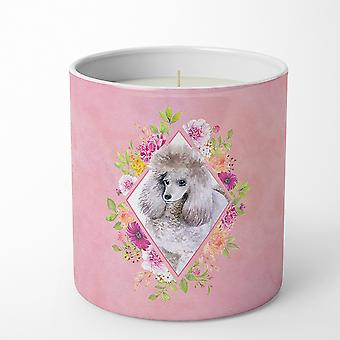 Standard Grey Poodle Pink Flowers 10 oz Decorative Soy Candle