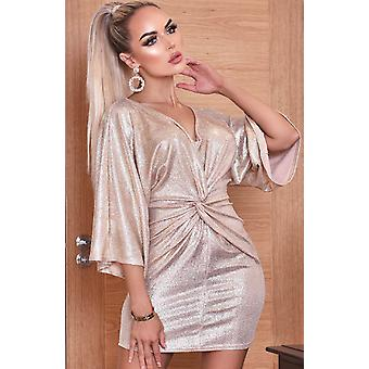 Anika Metallic Twisted Knot Dress - Grey