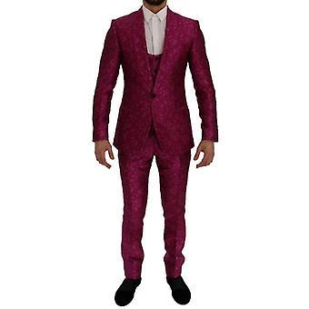 ドルチェ&ガッバーナピンクジャカード3ピーススリムフィットスーツ -- SIG6997808