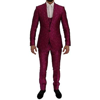 Dolce & Gabbana Pink Jacquard 3 db slim fit suit -- SIG6997808