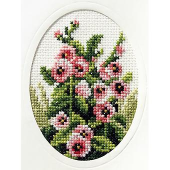 Orchidea Stamped Cross Stitch Card Kit - Hollyhocks