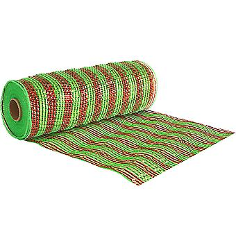 Christmas Stripe 25cm x 9.1m Deco Mesh Roll for Wreath Making, Floristry & Crafts