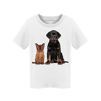 Cat And Dog Posing Tee Toddler's -Image by Shutterstock