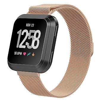"For Fitbit Versa 2/Versa/LITE Strap Milanese Wrist Band Stainless Steel Magnetic[Large (7.1""-8.7""),Rose Gold]"