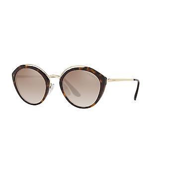 Prada SPR18U 2AU4P0 Havana-Pale Gold/Brown Grad Grey Mirror Silver Sunglasses