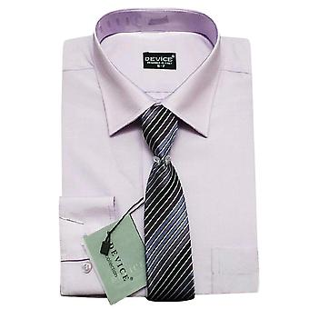 Men Lilac Formal Shirt and Tie Set