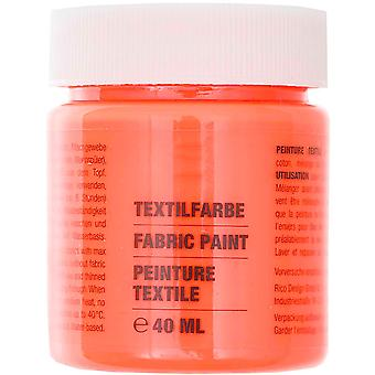 Neon Red Fabric Paint for Light Fabrics - 40ml