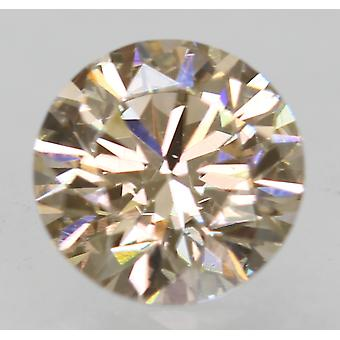 Cert 0.53 Ct Yel Brown VVS1 Round Brilliant Enhanced Natural Diamond 5.16mm 3EX