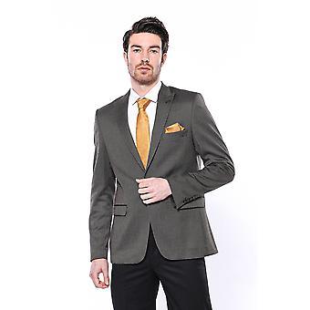 Patterned brown slim-fit blazer