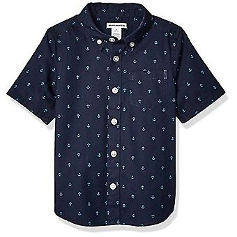 Essentials Big Boys' Short-Sleeve Poplin/Chambray Shirt, Anchor Navy P...