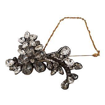 Dolce & Gabbana Gold Lapel Pin Chain Clear Gray Crystal Flower Brooch -- SMYK869488