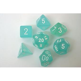 Chessex Polydice Set - Frosted Teal/white
