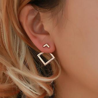 Γεωμετρικά σκουλαρίκια σακακιών αυτιών - χρυσά καρφιά
