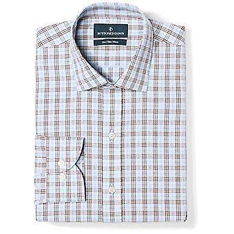 KNAPPET NED Men's Slim Fit Spread Collar Pattern Non-Iron Dress Shirt, Blå...