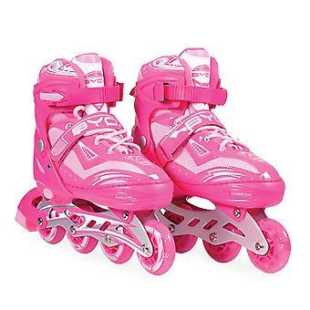 Inliner Kinder Sparkle rosa, Größe L 38-41 verstellbar, PU, ABEC-7, Lichteffekte