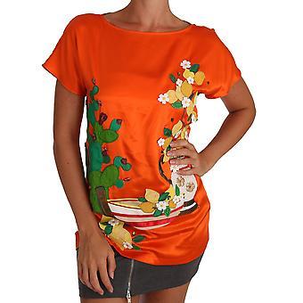 Dolce & Gabbana İpek Portakal Limon Kristal T-Shirt Üst TSH2381-36