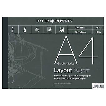 Daler Rowney Series A Layout Pad, A4, 80 Sheets, 45gsm