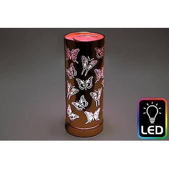 Butterfly LED Tall Rose Gold Oil Burner (UK Plug)