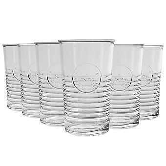 Bormioli Rocco Officina 1825 Ridged Highball Cocktail Gläser Set - 475ml - Packung mit 12