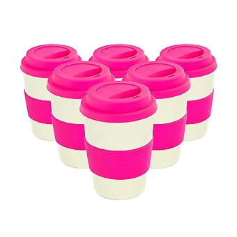 Reusable Coffee Cups - Bamboo Fibre Travel Mugs with Silicone Lid, Sleeve - 350ml (12oz) - Pink - Pack of 6