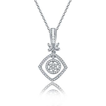 Square Zircon Flower Necklace