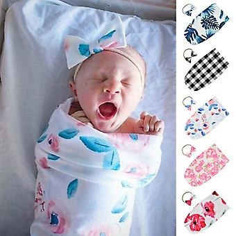 Baby Swadle Wrap Blanket And Hair Band For Newborn